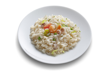 Dish with rice salad with shrimp