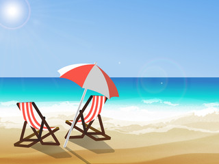 Summer background, vector illustration of the day at the beach with sea waves, ans sun shining, seaside view with copyspace. Two deck chairs and umbrella at seaside