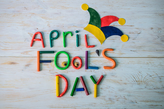 April Fools' Day text made with plasticine