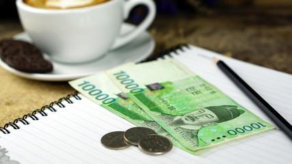 Korea won money bills