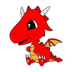 Cute Cartoon Baby Dragon