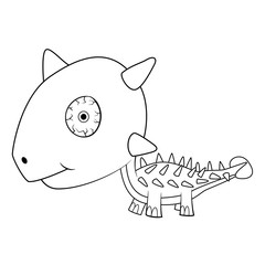 Cartoon Baby Ankylosaurus Dinosaur