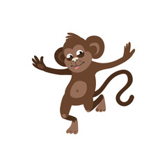 Cheerful monkey on white background. vector illustration