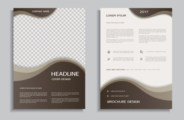 Brochure design template with brown wavy background