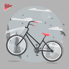 Cycling concept. Bicycle ride in the woods. Vector bright illustration of Bike. Trendy style for graphic design, logo, Web site, social media, user interface, mobile app.