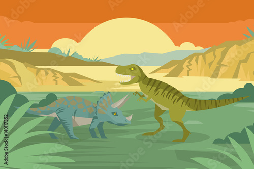 triceratops and tyrannosaurus in the jungle