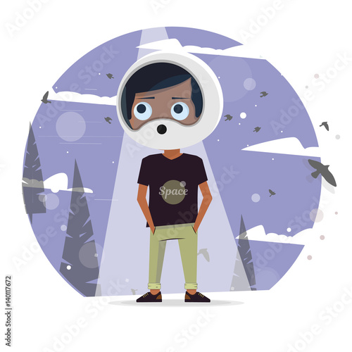 illustration vector of kids dream of astronauts to fly into space stockfotos und lizenzfreie. Black Bedroom Furniture Sets. Home Design Ideas