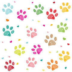 Colorful paw print with hearts background