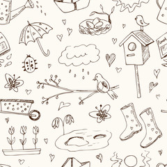 Spring doodles seamless pattern. Hand drawn flowers, cats, birds, eggs, instruments, boots, clouds, butterflies.