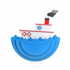 The boat floats on the waves - miniature, cartoon style. 3d illustration