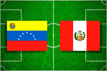 Flags of Venezuela - Peru on the football field. Football qualifying matches 2018