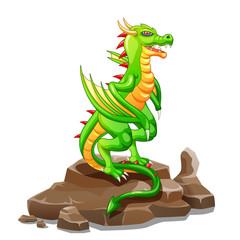 Dragon on the rock cartoon. Vector illustration
