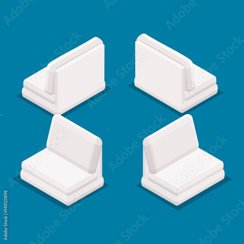 """Trend Isometric Objects 3D Office Furniture, Sofa Front"