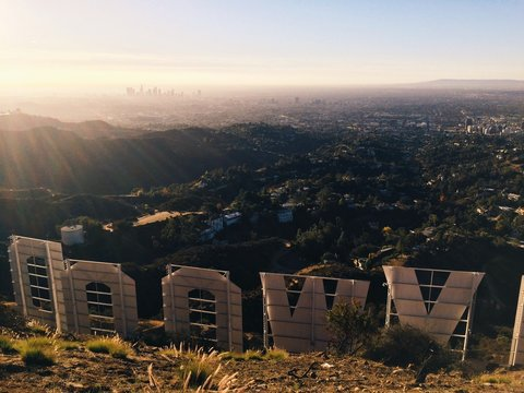 Rear view of Hollywood sign, overlooking Los Angeles, California, United States of America