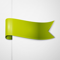 Realistic shiny green-yellow ribbon isolated on white background. With space for text. Vector illustration
