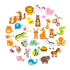 Vector illustration of cute animals and birds