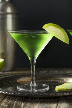 Homemade Green Alcoholic Appletini Cocktail