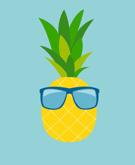 Pineapple in Glasses. Summer Concept Background