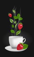 Vector realistic illustration of a teacup with hot drink and vapouring steam. The vapour lifts above strawberries, drops and tea leaves. Concept image for a scented berry tea