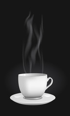 Vector realistic cup made out of white china with a hot beverage tea or coffee. Steam is vapouring high.