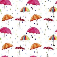 Seamless  watercolor pattern. Umbrellas and rain drops on white background