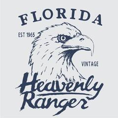 Vintage label with eagle head