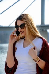 Young female talking on a cell phone.