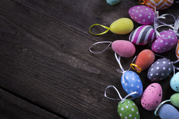 Easter theme. handmade Egg  bokeh background, place for typography, Happy Easter