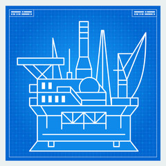 Oil platform rig blueprint scheme