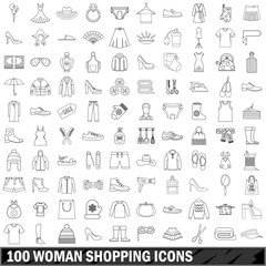 100 woman shopping icons set, outline style