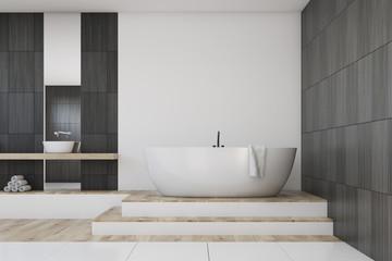 Bathroom with a mirror, black