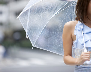 Young woman with umbrella, differential focus