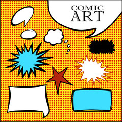 hand drawn comic art speech bubbles, stars, cloud text boxes, shapes, red and yellow benday dot background, comic book and cartoon strip design elements
