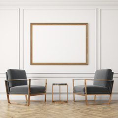 Two gray armchairs and a poster
