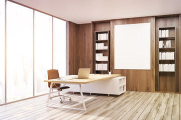 CEO office with dark wooden walls, corner, toned