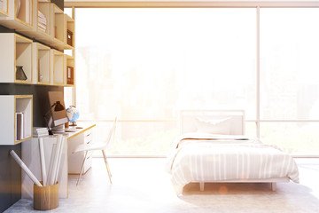Bedroom with panoramic window, toned