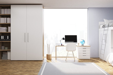 Front view of teenager room with computer