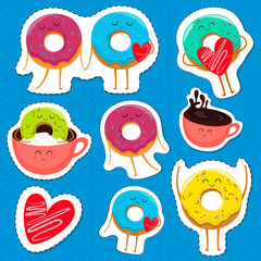 Funny cartoon donut characters stickers in leisure. Cartoon face food emoji. Donut emoticon. Funny food stickers. Vector illustration.
