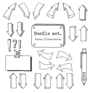 Hand drawing vector arrow collection, doodle illustration on white background. Arrow sketch vector set. Hand drawn vector shapes. Doodle style decorative elements for infografic.