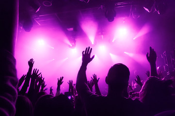 Raised hands of fans during a concert on the background of purple rays of light