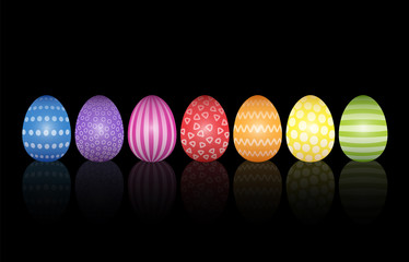 Easter eggs collection with different bright colors and simple pleasant patterns. Isolated vector illustration on black background.