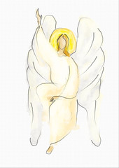 White angel, simple watercolor style abstract artistic illustration of an Easter angel in sitting position