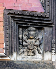 Fragment of the wall of the ancient hindu temple in Bhaktapur - Nepal