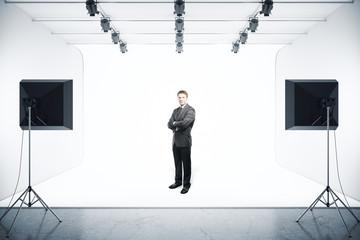 Businessman in photo studio