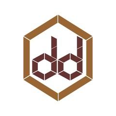 initial letter dd dark brown color logo vector
