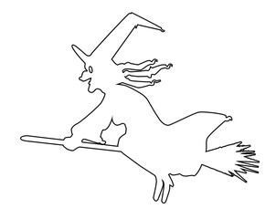 Witch And Broomstick Outline