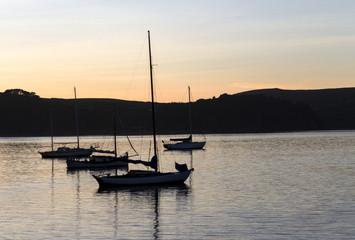 Tomales Bay Sailboats Sunset Reflections