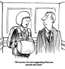 Business cartoon showing executive wearing a parachute and saying to coworker, '... also bail'.