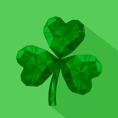 Vector illustration icon of crystal emerald Shamrock.
