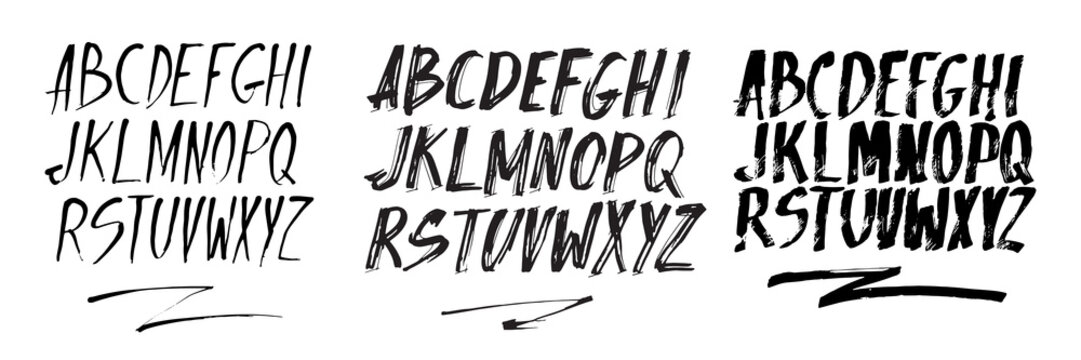 Graphic Font for your design. Hand drawn calligraphy lettering alphabet. Stylish letters with in figures. Vector illustration.